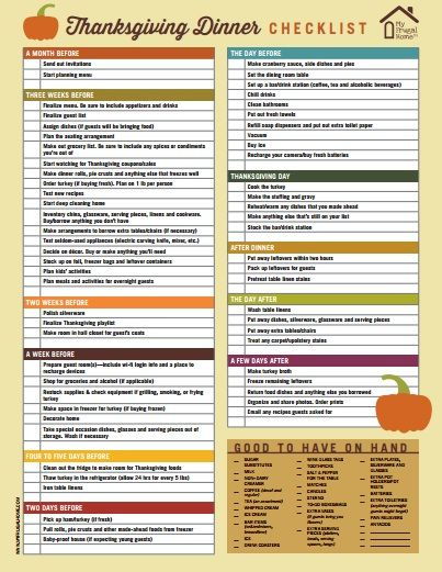 Hosting Thanksgiving Dinner Use This Handy Checklist To Make Sure You Dont Forget To Do Anything Thanksgiving Myfrugalhome