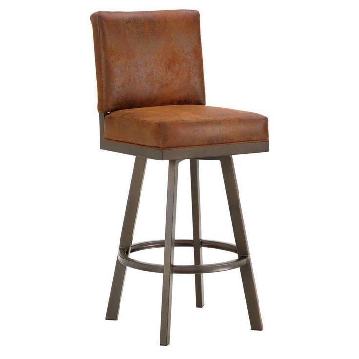 "Iron Mountain 4803330 Pasadena Swivel Upholstered Bar Stool 30"" Seat Height w/ Mayflower Cocoa Fabric - Inca/Bronze"