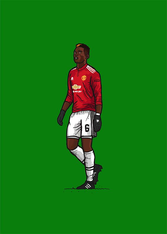 Items Similar To Paul Pogba Manchester United Illustration On Etsy Paul Pogba Manchester United Pogba Manchester Liverpool Football