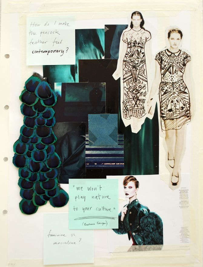 Fashion Sketchbook design process; fashion mood board & idea development; peacock feather theme // Lina Michal
