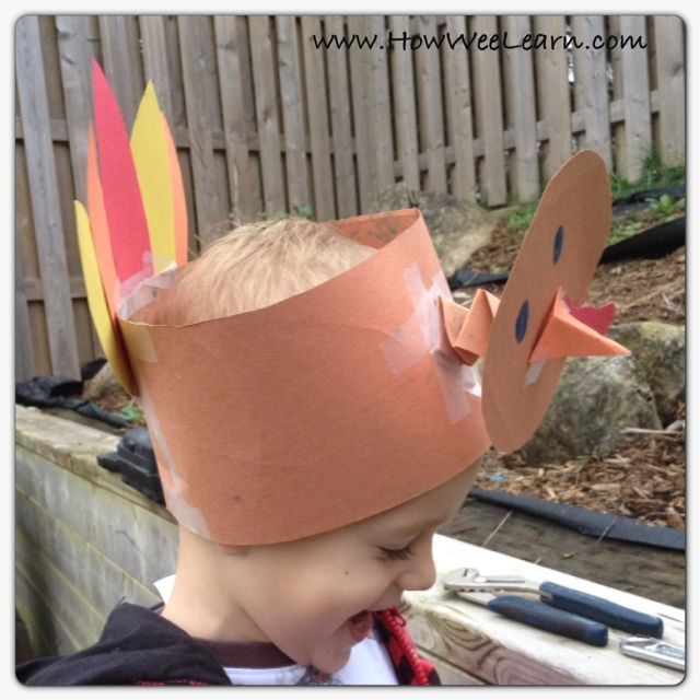 Adorable Thanksgiving crafts for kids! My preschooler LOVES this bobbling turkey hat
