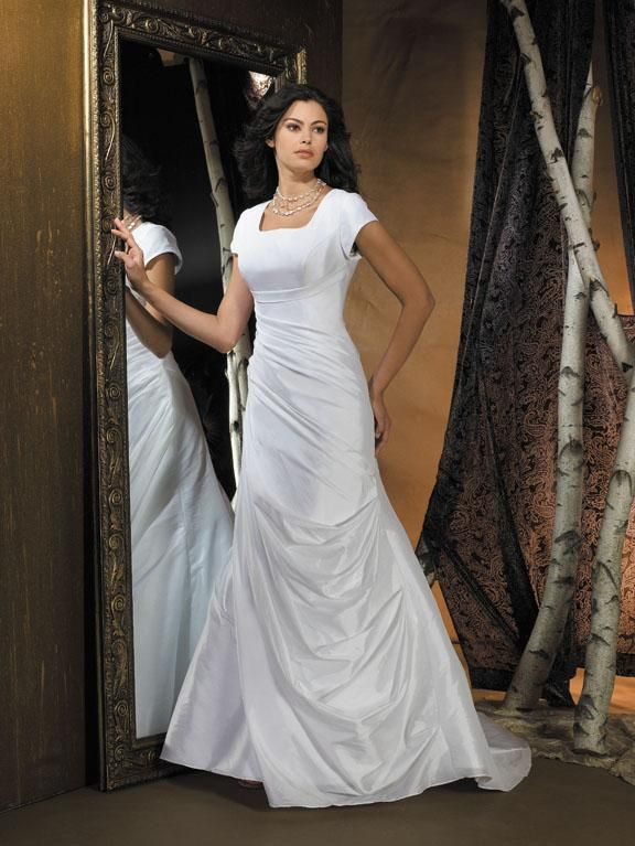 modest wedding dresses   Strapless Satin Organza Simple Modest Wedding Dress With Sleeves ...