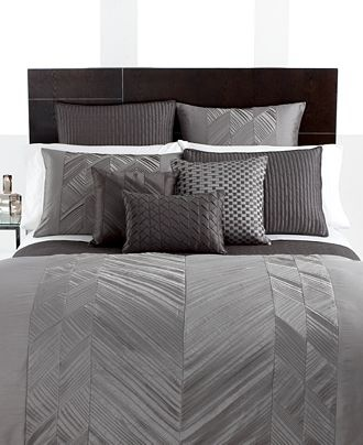 Hotel Collection Bedding, Pieced Pintuck Gray Collection, just throw in some color! Perfect!