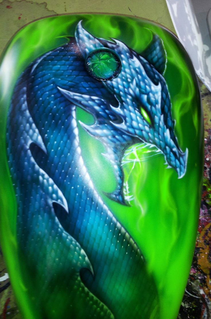 Airbrushed Dragon on motorcycle tank