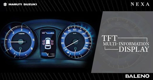 Explore the best of technology while driving #Baleno. The TFT Multi-Information display track shows multiple information and keeps you informed.