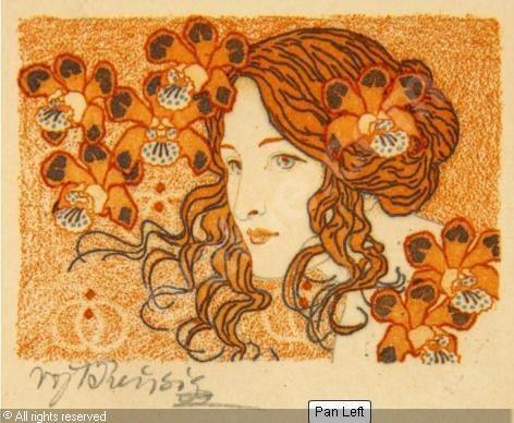 Vojtěch Preissig (Czech, 1873-1944). Mädchen mit Blüten im Haar.