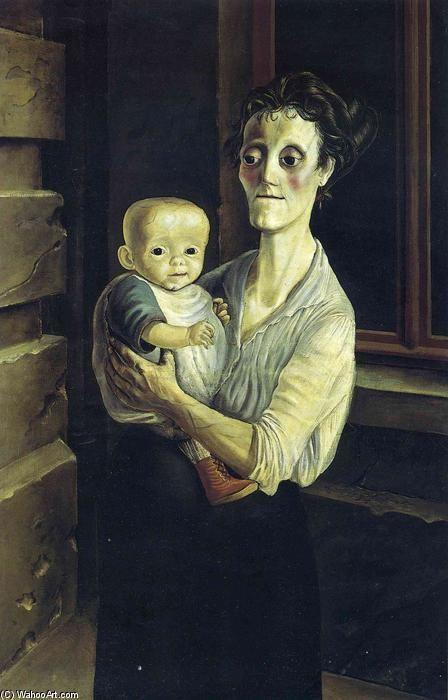 オットー・ディックス『子供を抱く母』(1921) Otto Dix -  Mutter mit Kind #新即物主義