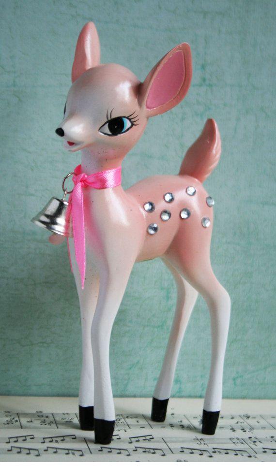 Sweet vintage pink rhinestone deer...