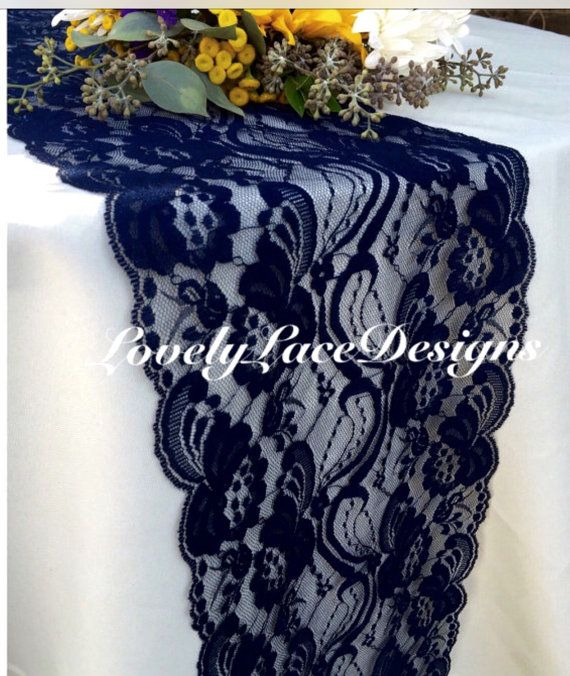 NAVY BLUE Lace/Table Runner/3ft -10ft long x 7in wide/Wedding Decor/Table Decor/NAVY Decor/Centerpiece/Weddings/Reception Decor/Ends Not Sew