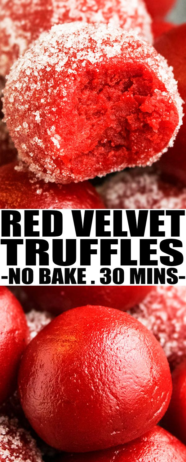 Quick and easy no bake RED VELVET TRUFFLES recipe (red velvet cake truffles) with cream cheese are a bite sized dessert or snack with rich and creamy texture. From cakewhiz.com #truffles #redvelvet #dessert #nobake #sweet #recipes #valentinesday #mothersday