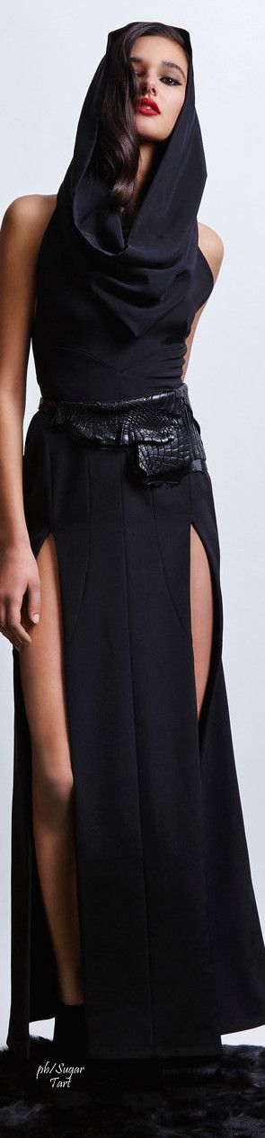 Hooded Black silk maxi dress with double front slits for Norisol Ferarri Fall 2015