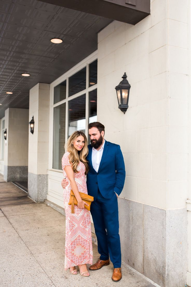 Pink Maxi Dress And Navy Suit Wedding Guest Attire