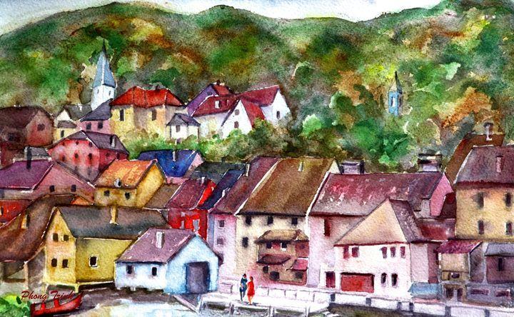Lods Sur La Loue 6 - Phong Trinh Watercolor Fine Art Print Avail. At: http://www.artpal.com/phongtrinh/
