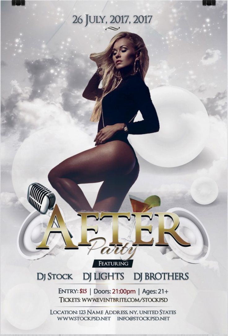 after party flyer is a free luxury psd flyer template in white color  this psd file is very easy