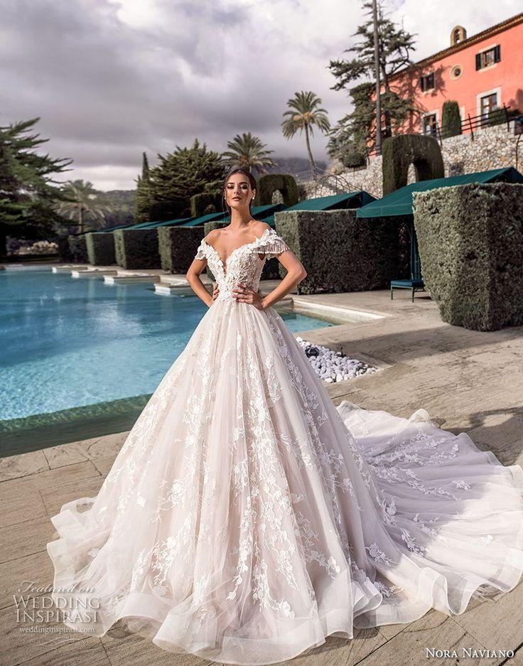 nora nobiliano 2019 Braut aus der Schulter tiefen Schatz Ausschnitt voller Verzi…
