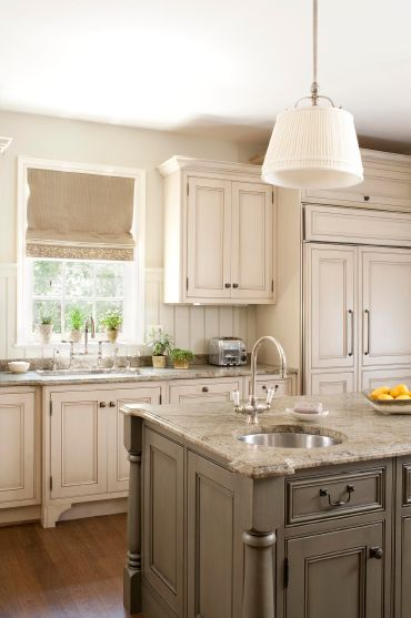 Tammy Connor Interior Design - kitchens - Sandy Chapman Single Sloane Shop Light with White Linen Shade, sand, walls, antique, white, kitchen cabinets, gray, kitchen island, balsuter legs, granite, tops, beadboard, backsplash, burlap roman shade, burlap window treatments,