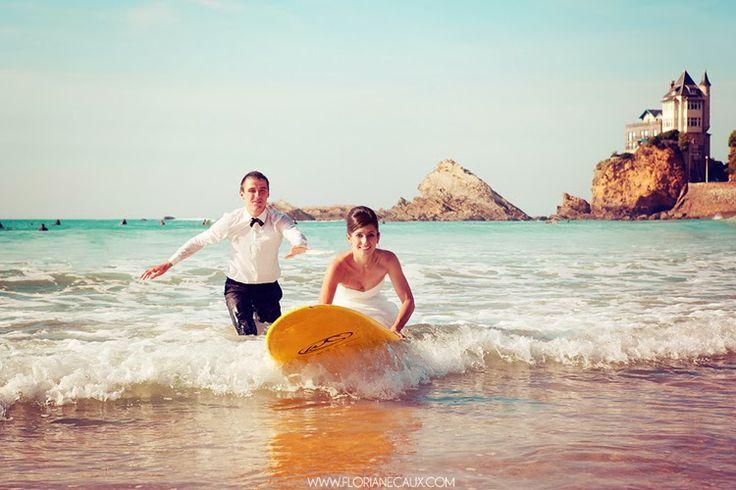 Trash the dress on the beach - Biarritz #wedding #love #bride #surf #beach
