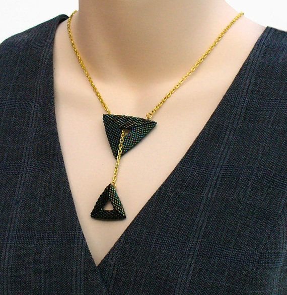 Beadwork Jewelry, Geometric Y Necklace, Iridiscent Bead Jewelry, Gold Statement Necklace, Beadwoven Triangle,Bead Art Jewelry-Etsy UK Seller