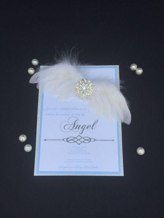 angel baby shower invitation, Silver boxed invitation, angel wing invitation…
