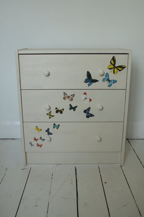 Cream  chest of drawers with decoupage butterflies by OooLovely, £75.00