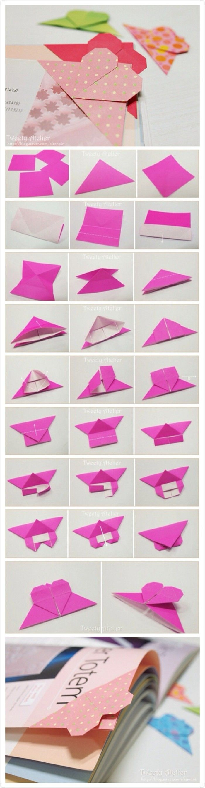 Diy craft heart-shaped origami bookmark