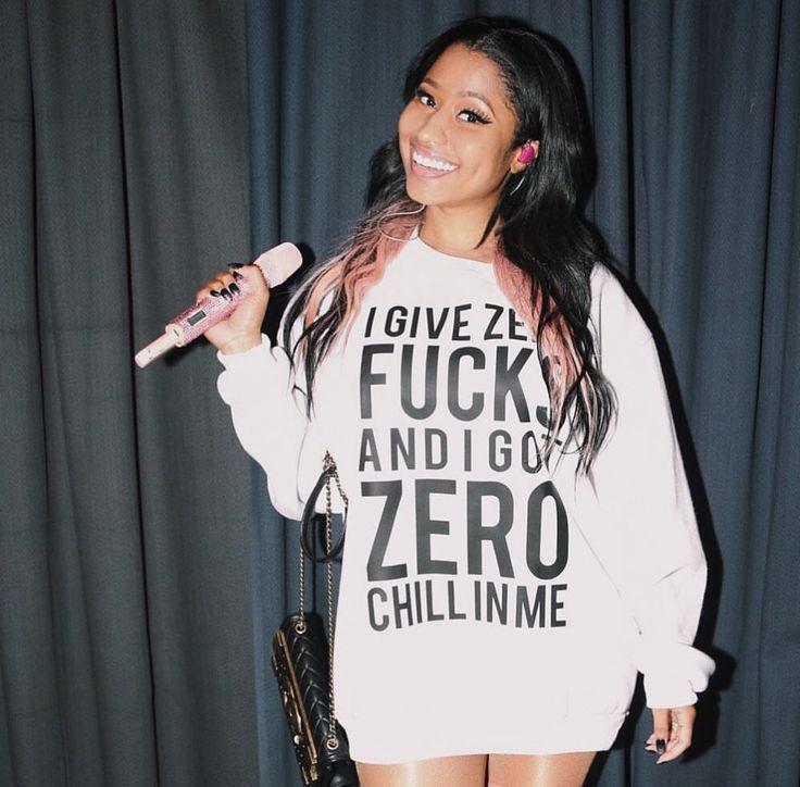 Nicki Minaj wearing a hoodie with lyrics from Side to Side