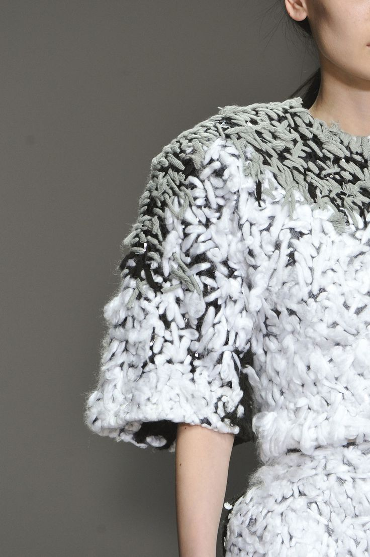 Wool dress detail with complex embroidered textures; artistic textiles for fashion design // Anita Hirlekar Fall 2014