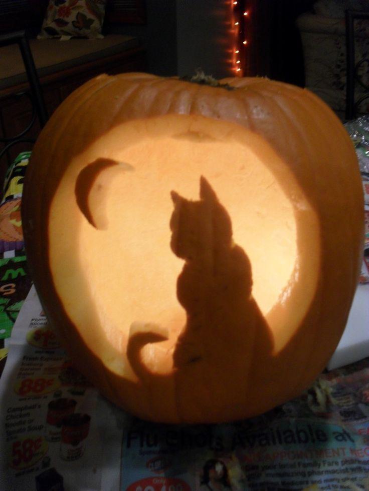 Free Cat Pumpkin Carving Template
