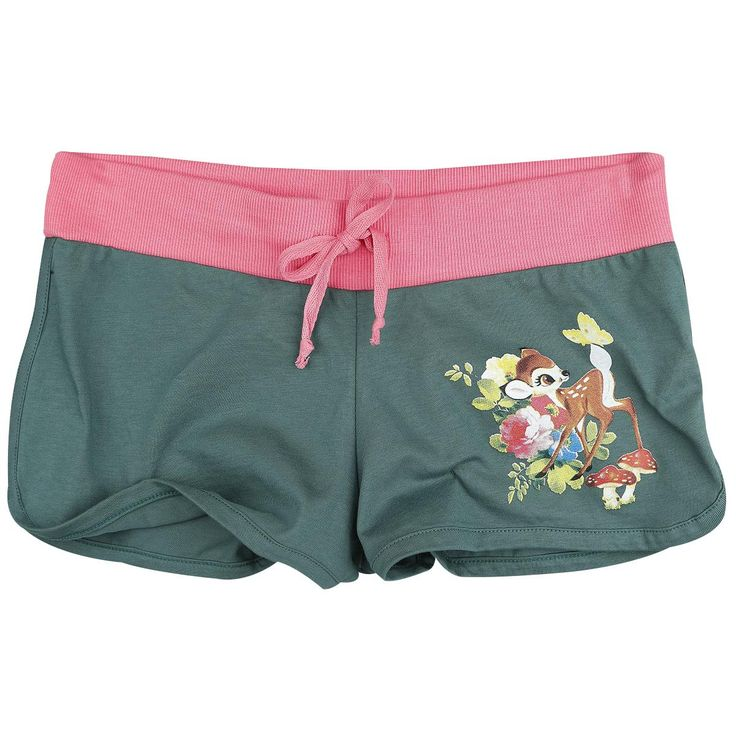 Bambi  - hot pants - front left print - back print - elastic waist band - Walt Disney  To make you look at least as cute as the beloved fawn, we have the Bambi shorts ready for you. On the shorts you can see an image of Bambi that is curiously looking at a butterfly. On the back of the shorts you can read the name of the small white-tailed deer in big letters.