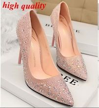 Femmes argent talons strass chaussures de mariage Sexy talons bout pointu talons hauts robe chaussures pompes rose chaussures de soirée pour les femmes Y613(China (Mainland))