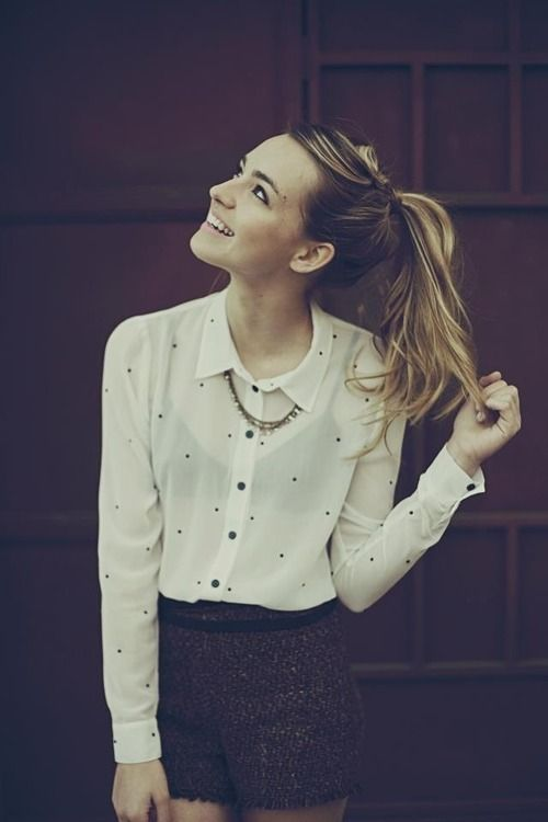 'Tis the season for a sheer polka dot blouse and tweed shorts!