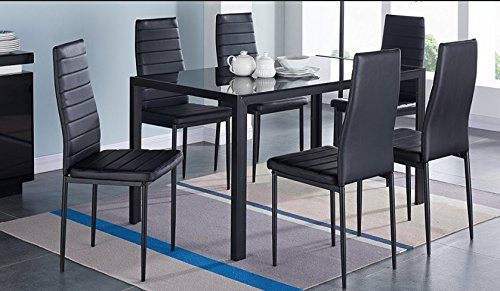 Ids Home 7 Piece Glass Dining Table And Chair Set For 6 Kitchen