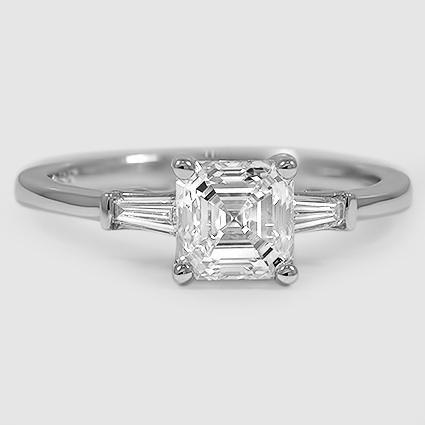 Platinum Tapered Baguette Diamond Ring // Set with a 1.25 Carat, Asscher, Very Good Cut, I Color, VVS1 Clarity Diamond #BrilliantEarth
