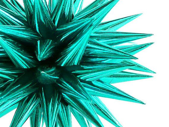 Teal Christmas Ornament Spiky Paper Ball Tree by kissadesign