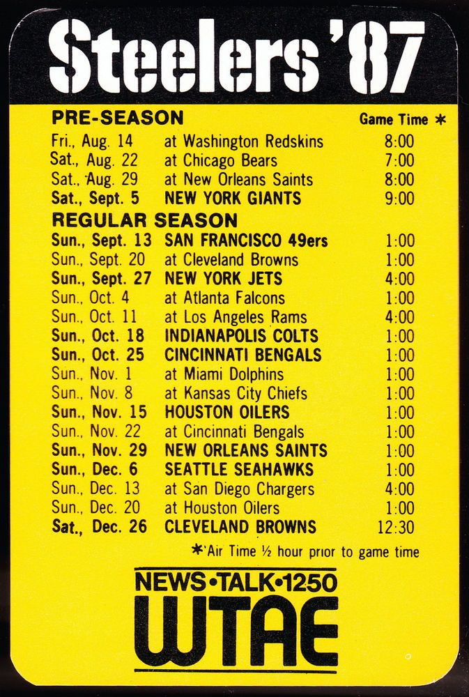 1987 PITTSBURGH STEELERS WTAE 1250 RADIO FOOTBALL POCKET SCHEDULE FREE SHIPPING #Pocket #SCHEDULE