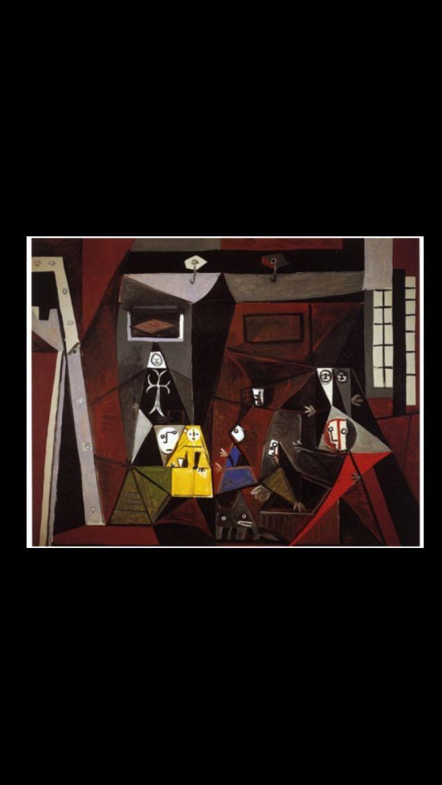 """Pablo Picasso - """" Les Ménines - Vue d'ensemble  (d'après Velázquez) """", Cannes 3 X 1957 - Huile sur toile - 129 x 161 cm - Museo Picasso, Barcelone (..)"""