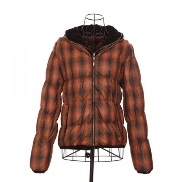 28.29$  Buy here - http://did3m.justgood.pw/go.php?t=YM3393601 - Preppy Style Hooded Zipper Design Orange Checked Embellished Long Sleeves Polyester Women's Short Coat 28.29$