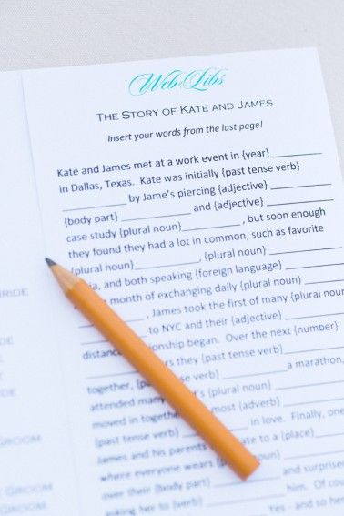 Madlibs at guest placesettings- such a fun activity for guests!