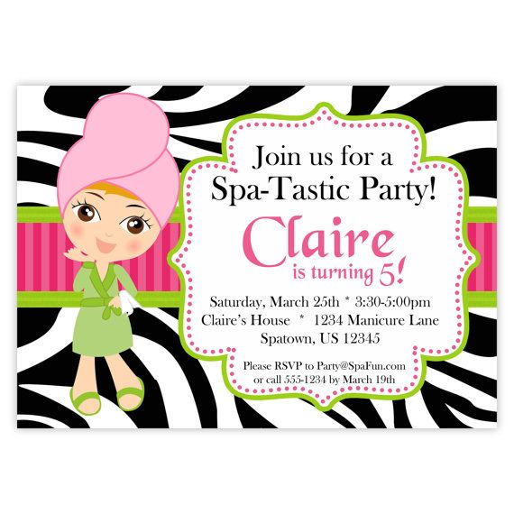 Pink Zebra Print Girls 1st Birthday Invitation: 42 Best Images About SPA Ad/ Flyer On Pinterest
