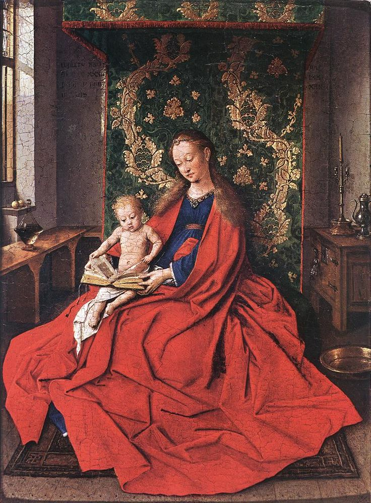 Jan van Eyck: Madonna with the Child Reading (1433) Flemish. Flemish art in this period is the best of the best. These are my people...I am a former Van Lerberghe and 1/2 belgian...so proud of my heritage!! It's where a get my art skillz ;}