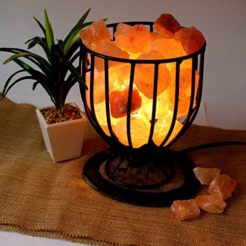 Good Genuine Himalayan Salt Lamp Iron Basket With Dimmer Switch And Agate Slice  * Visit The Image