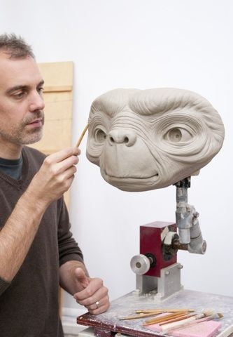 Madame Tussauds' #sculptor Dan Woodley puts the finishing touches to the #maquette that will be used as a blueprint for the wax figure of  the legendary film character E.T.