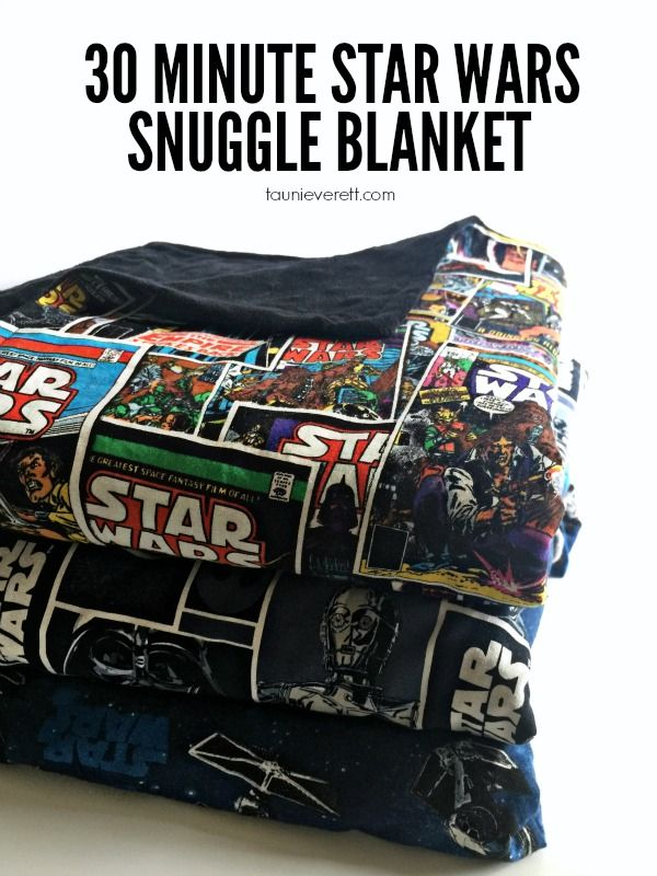 It only takes 30 minutes to make these awesome Star Wars snuggle blankets. They're perfect for kids and make a great accessory for Star Wars viewing parties. They look super simple.