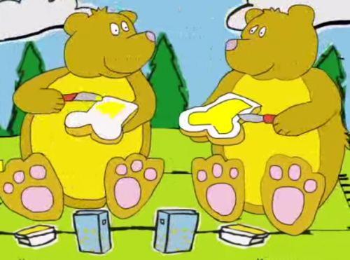 Ik zag twee beren broodjes smeren!