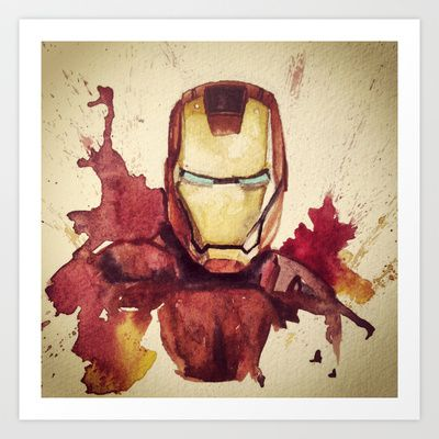 Iron+man+in+watercolor+Art+Print+by+Austin+Batchelor+-+$20.11