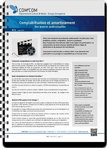 Comptabilisation et amortissement des œuvres audiovisuelles