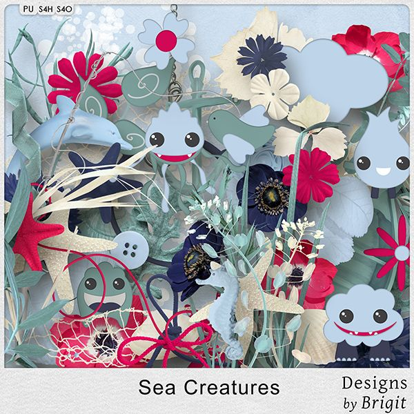 Digital Art :: Kits :: Sea Creatures kit by Designs by Brigit