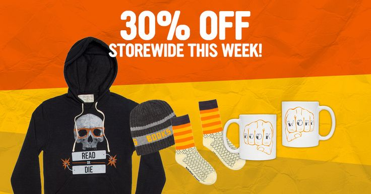 Take 30% off any/every thing in the Book Riot Store this week. Stock up on rad bookish hoodies, hats, socks, mugs, and more.