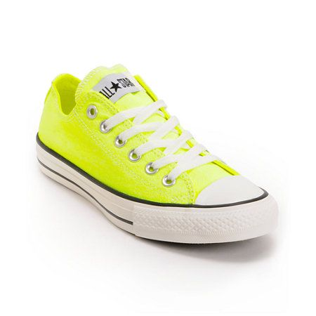 The original sneaker now in a Washed Neon Yellow colorway the Converse Chuck Taylor All Star low top shoe gives Crayola a run for its money.