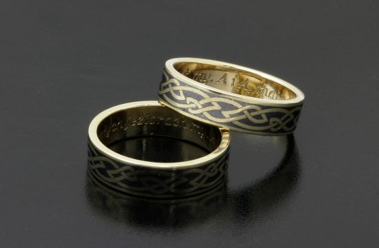 Rings by Bielak  Fancy Collection  yellow gold  satin pattern with niello
